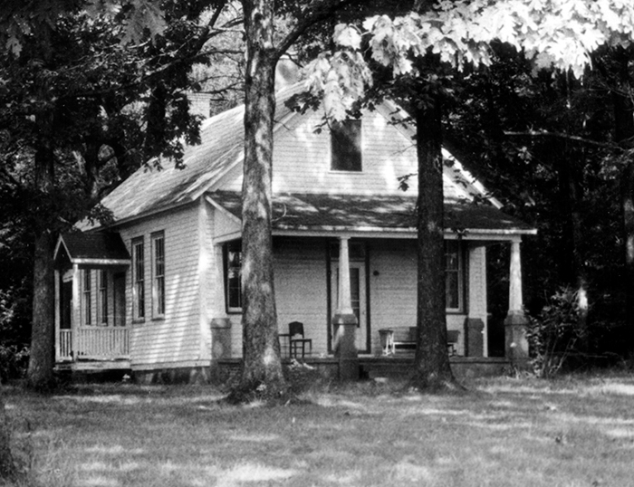 Black and white photograph of the second Money's Corner School after it had been converted into a dwelling.